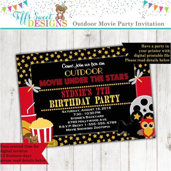 stars outdoor movie party movie birthday
