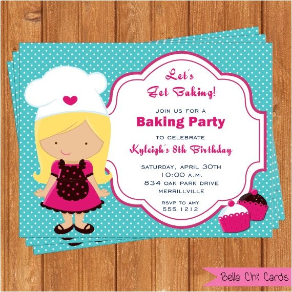 kids birthday invitations baking party kbi280