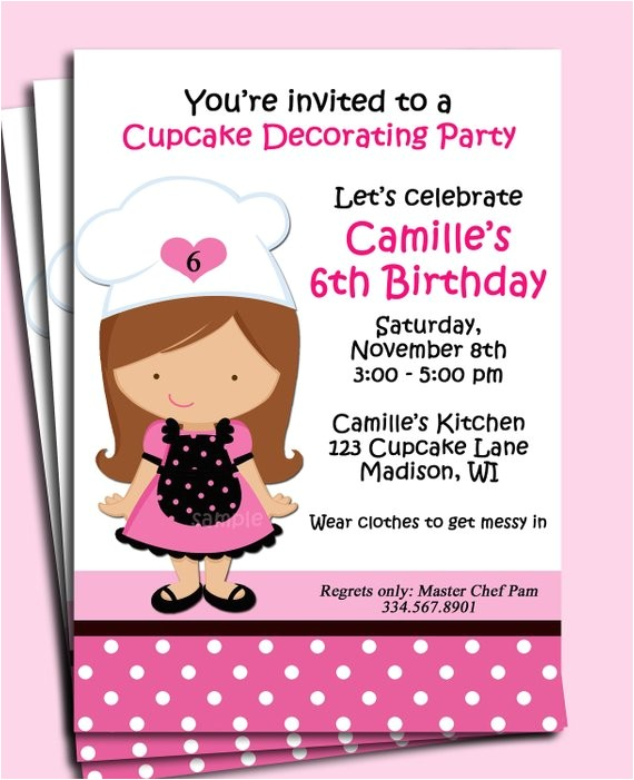 girl baking birthday invitation