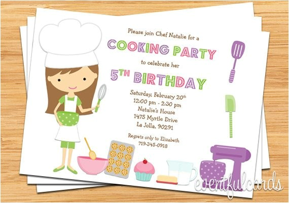 kids baking birthday party invitation