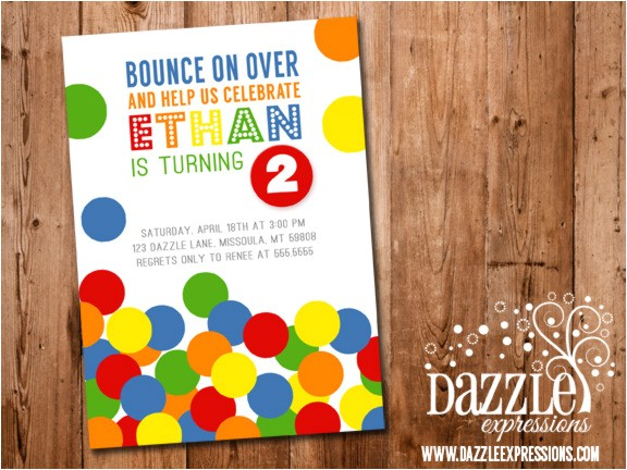bouncy ball birthday invitation no photo free thank you card included