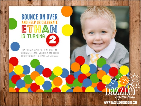 bouncy ball birthday invitation free thank you card included