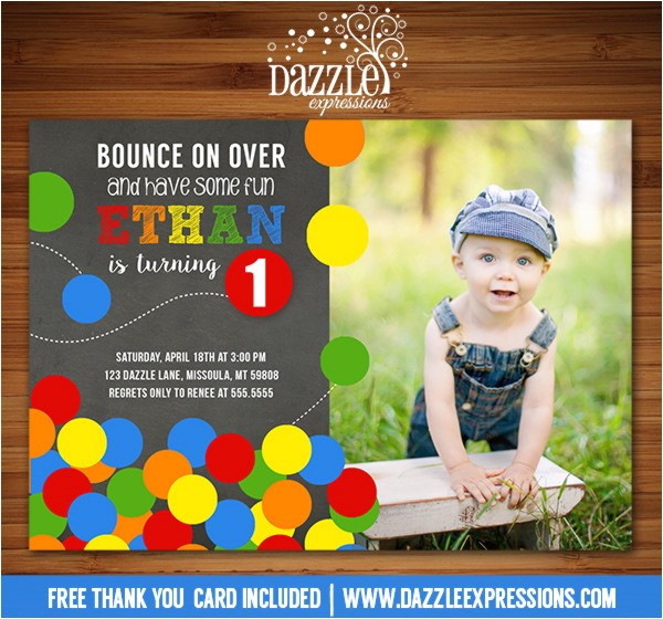 bouncy ball chalkboard birthday invitation 1 free thank you card included