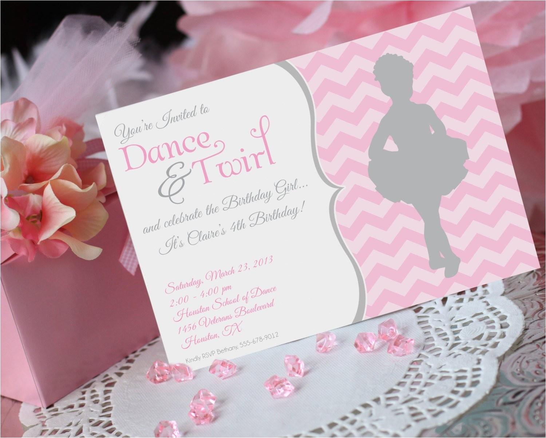ballet birthday invitation ballerina