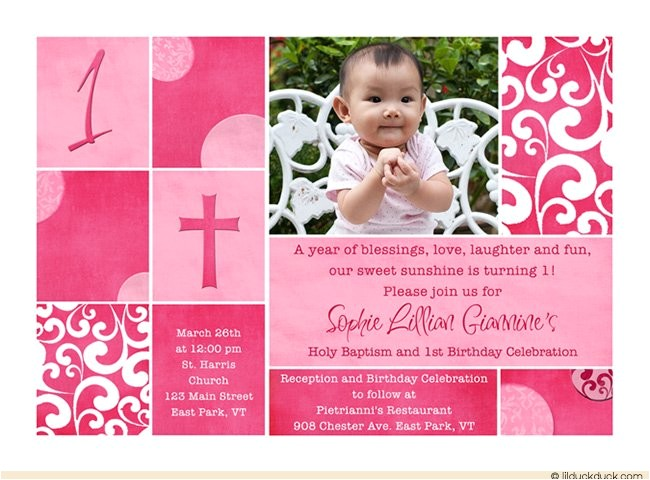 first birthday and baptism invitations