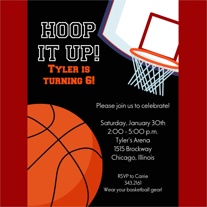 Basketball Birthday Party Invitation Wording Basketball Invitation Printable Invitation Kids Birthday