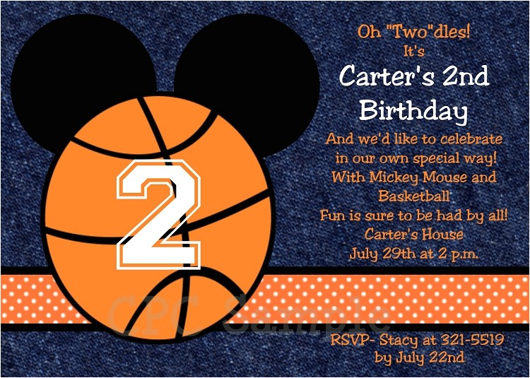 basketball mickey mouse invitations printable or printed p 2374