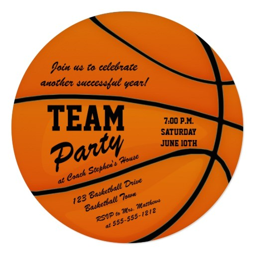 custom basketball team party invitation 256405980913776262
