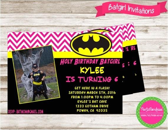 Batgirl Birthday Party Invitations Batgirl Invitation Batgirl Party Batgirl Birthday Superhero