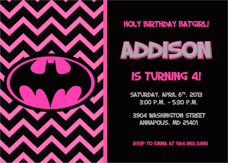 batman batgirl birthday party invitation