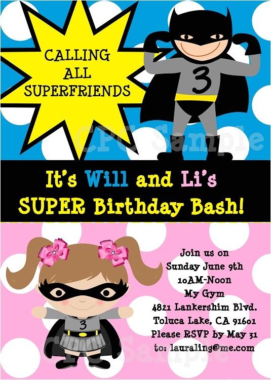 batman batgirl superhero birthday invitations printable or printed p 2481