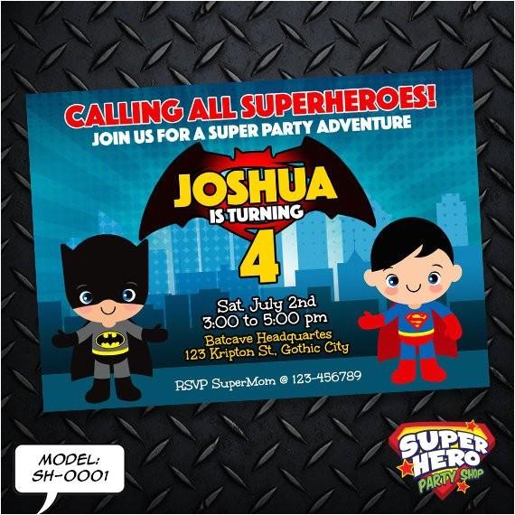 batman vs superman birthday invitation