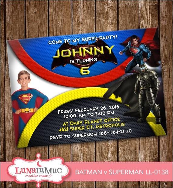 batman vs superman invitation card party