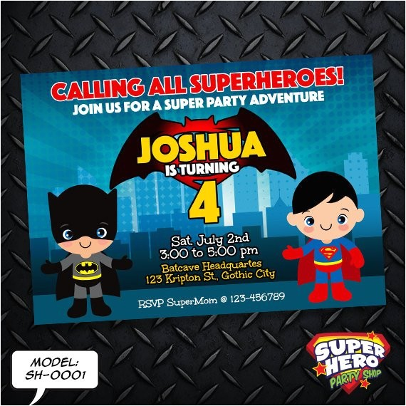 batman vs superman birthday invitation