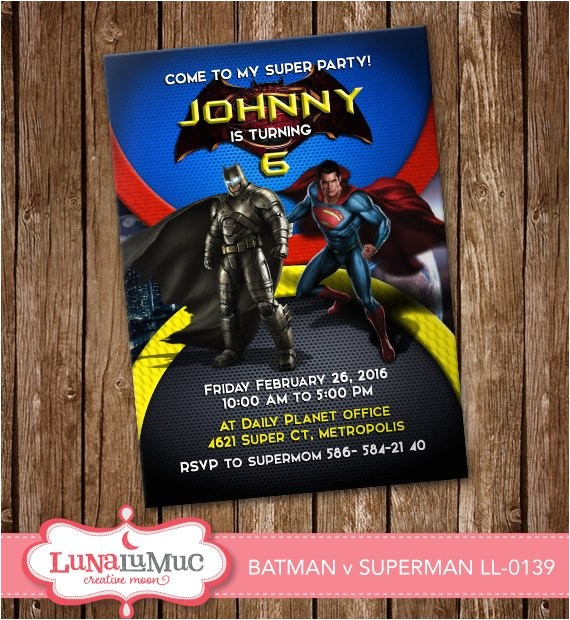 batman vs superman invitation card party
