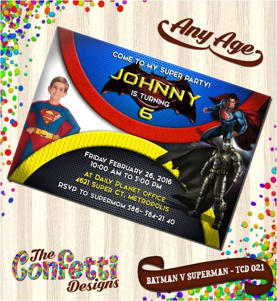 batman vs superman invitations batman vs