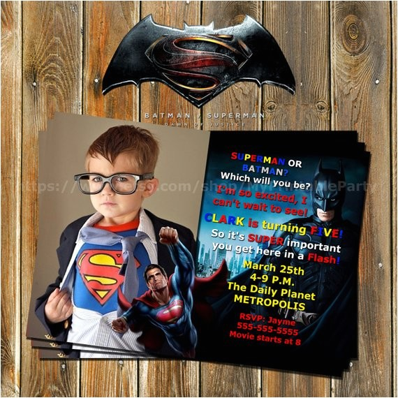 batman vs superman superhero invitation