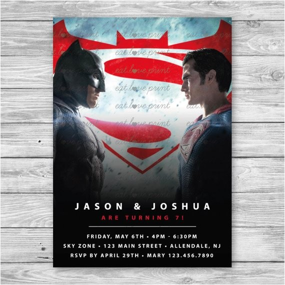 batman v superman invitation batman vs