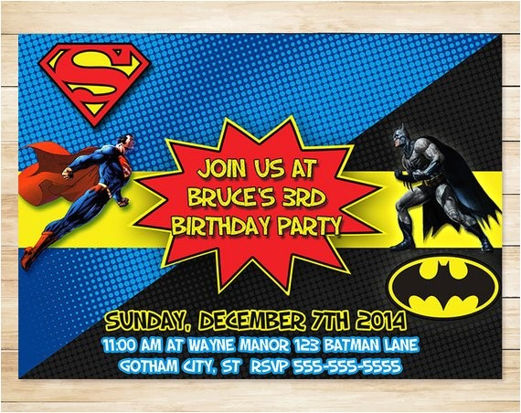 on sale batman superman invitation