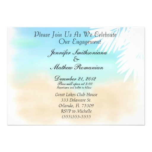 nice beach scene theme engagement party invitation 161219697320023546
