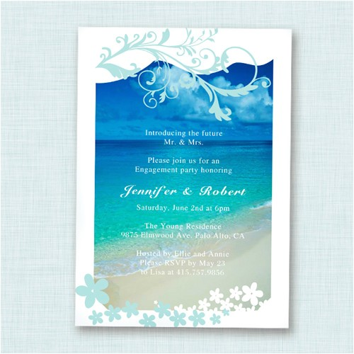 seaside blue beach theme engagement party invitation cards ewei003