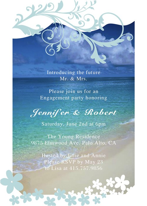 Beach themed Engagement Party Invitations Seaside Blue Beach theme Engagement Party Invitation Cards