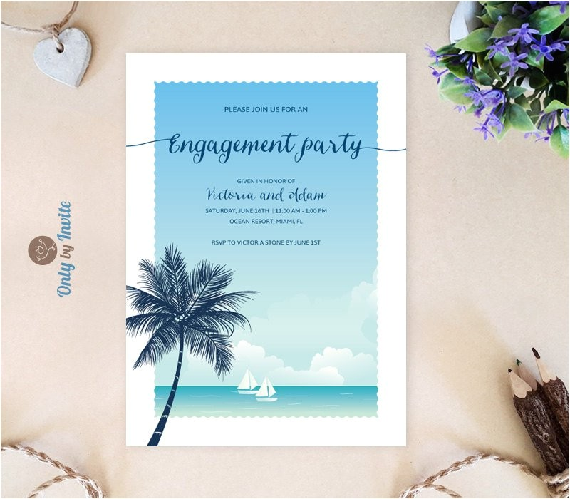 tropical engagement invitations beach