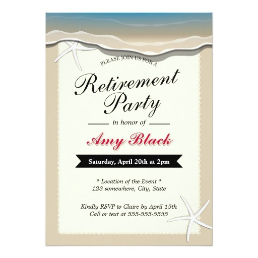 beach theme starfish retirement party invitation 161600009880762573