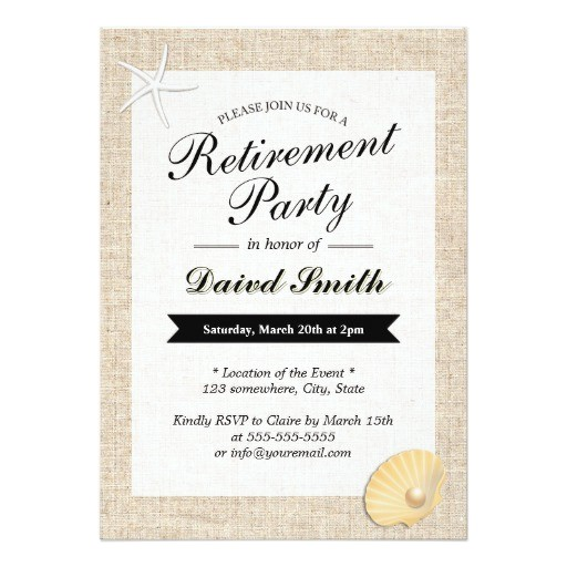 beach themed burlap retirement party invitations 161951441109604816