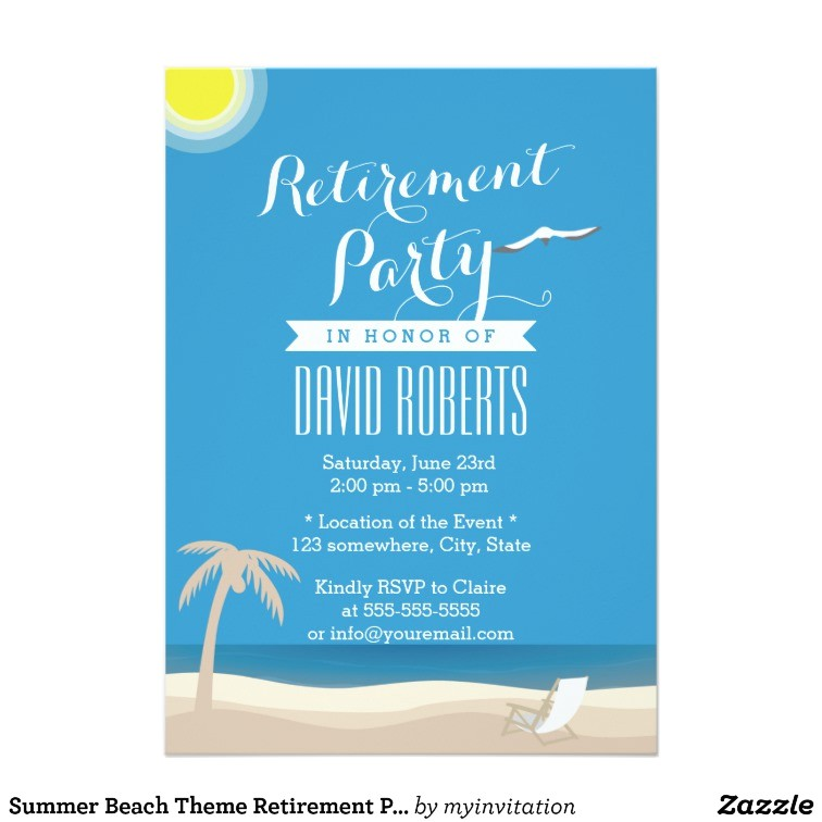 summer beach theme retirement party invitations 161826541240233815