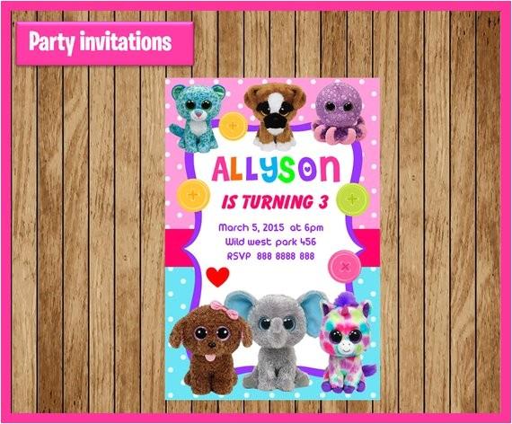 beanie boo invitation printable beanie