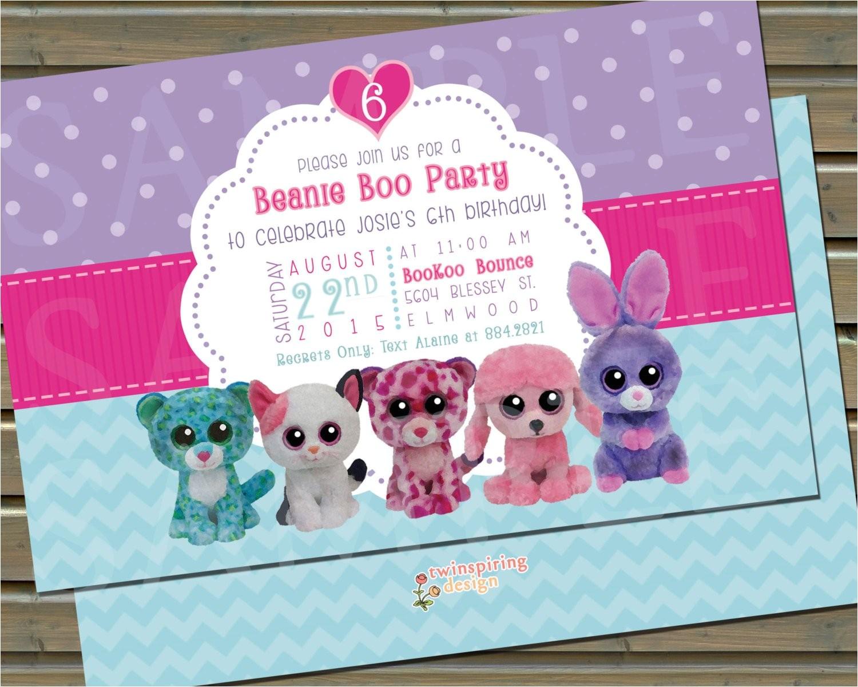 beanie boo birthday party invitation