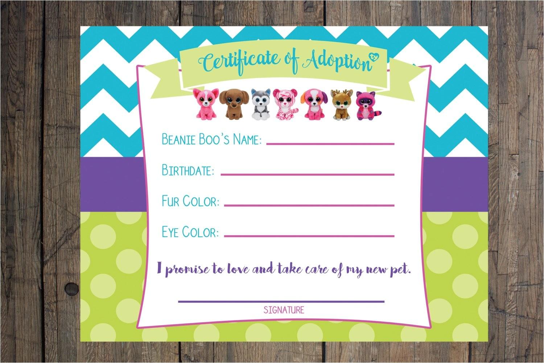 certificate of adoption beanie boo