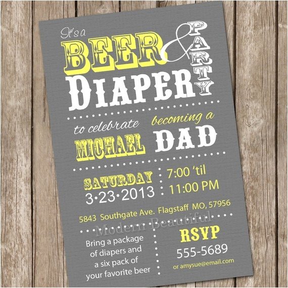 beer diaper baby shower invitation grey