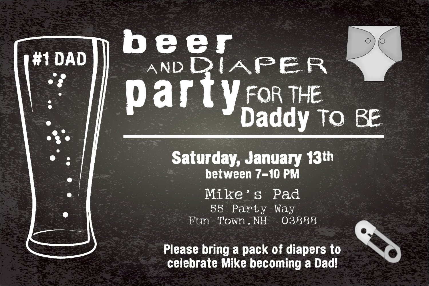 beer and diapers baby shower invitation