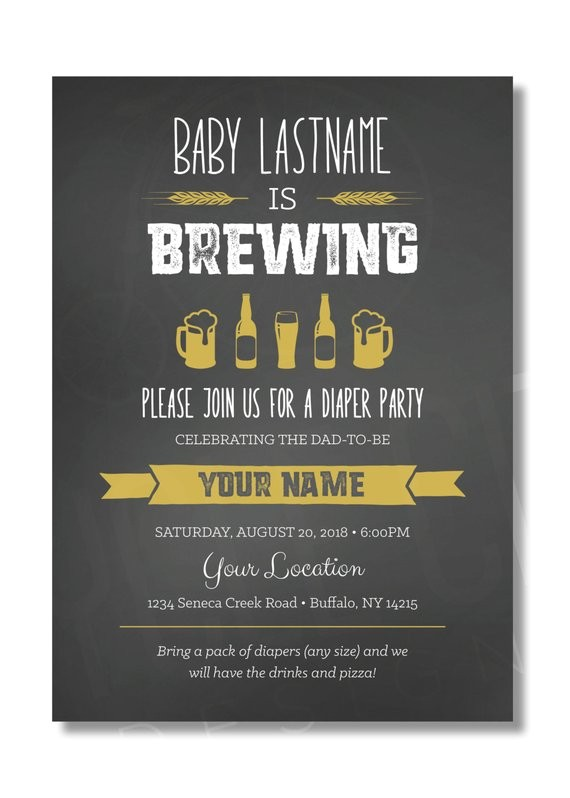 diaper party invite baby is brewing