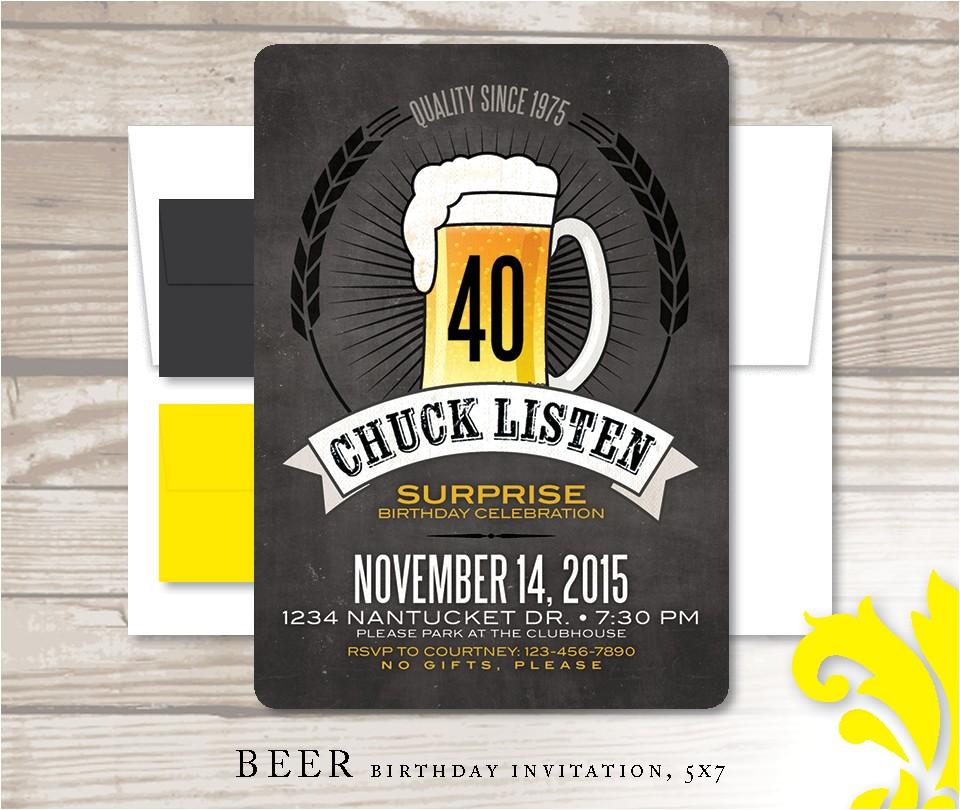 beer birthday invitation