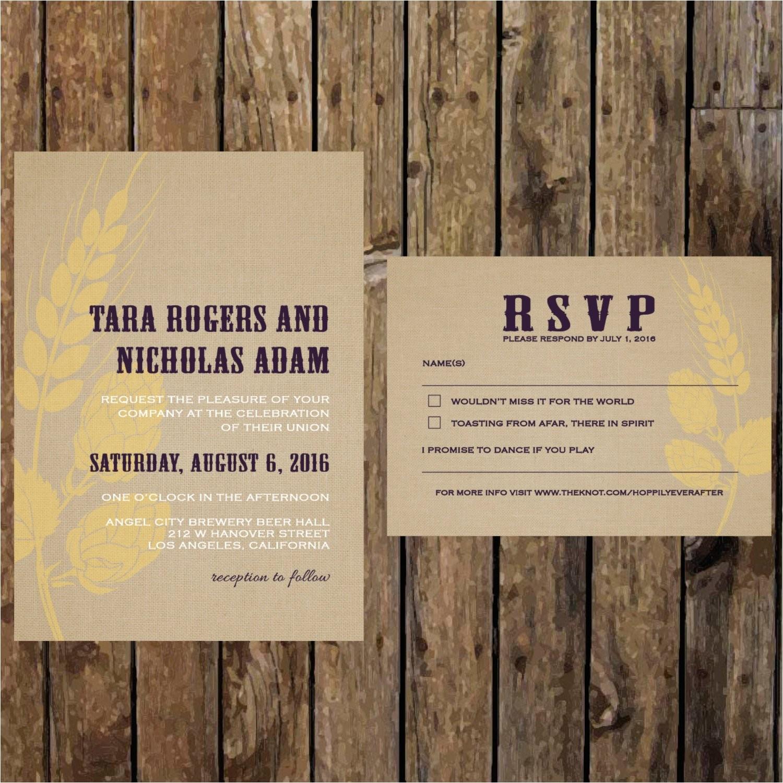 printable diy brewery wedding invitation