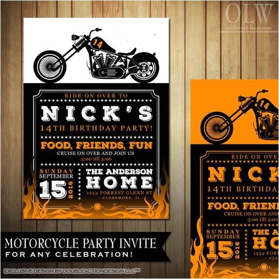 biker motorcycle birthday invitation diy