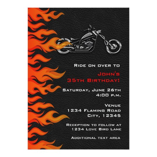 biker motorcycle leather flames party invitation 161126699127526322
