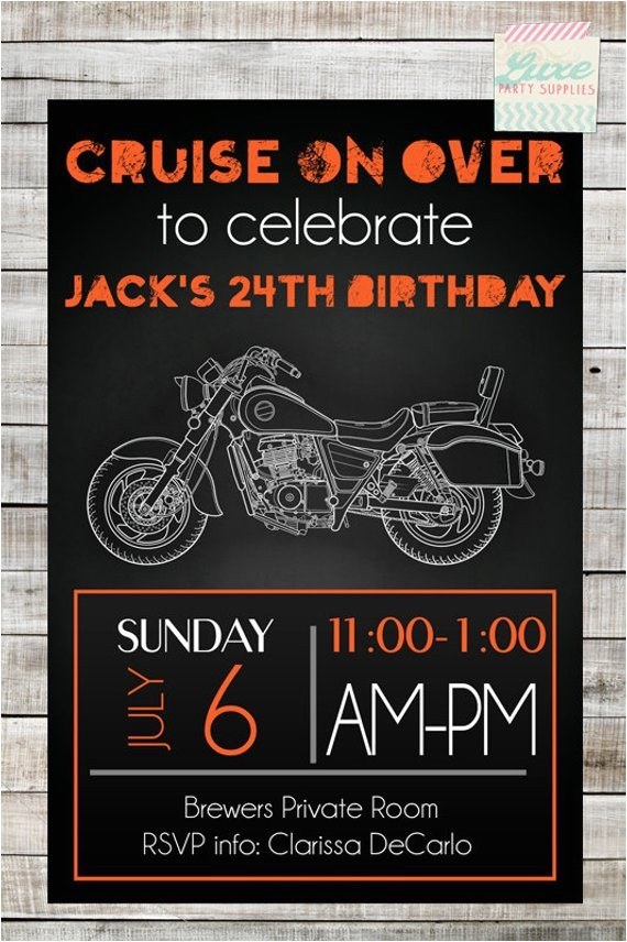 instant download diy motorcycle birthday