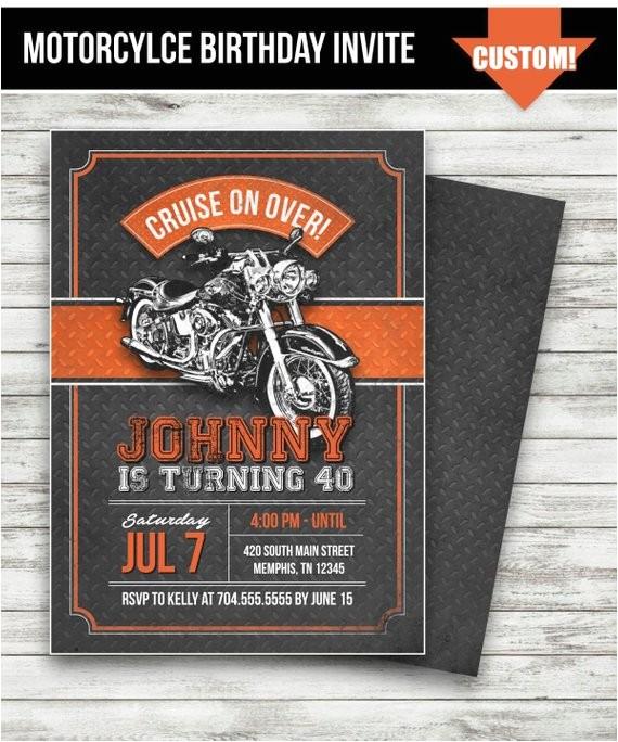 motorcycle biker birthday invitation