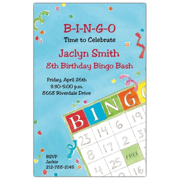 bingo birthday invitations p 612 58 20331itb