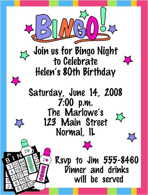 Bingo Party Invitations Bingo Game Night Birthday Invitations