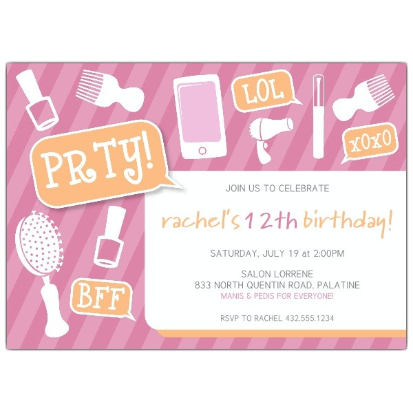 girly party tween birthday party invitations p 638 75 127