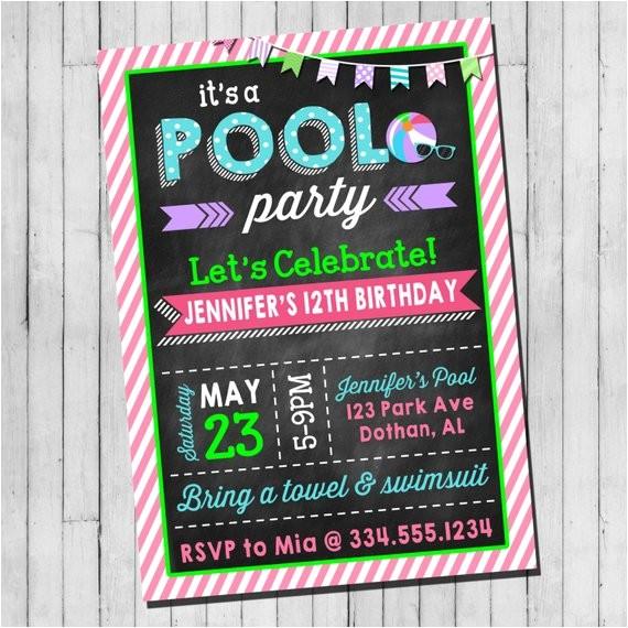 pool party birthday invitation girl teen
