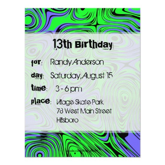 teen boys birthday party invitations green card 161751503113185763