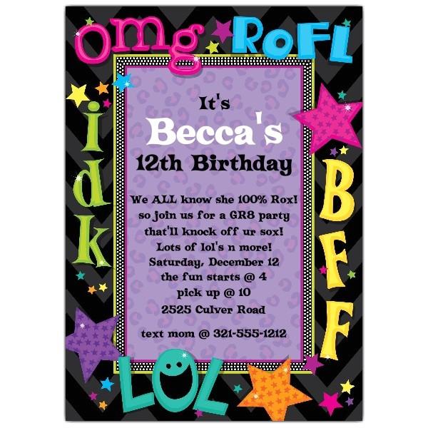 Birthday Invitation Wording for Teenage Party Teen Talk Birthday Party Invitations Paperstyle