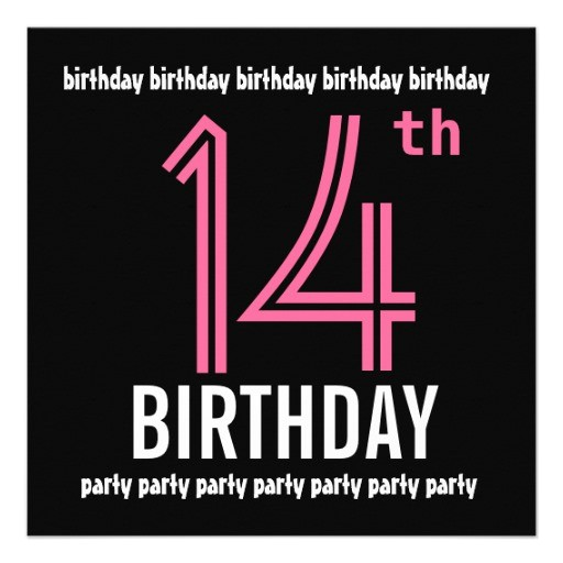 14th birthday party invitation template pink black 161560810864973175