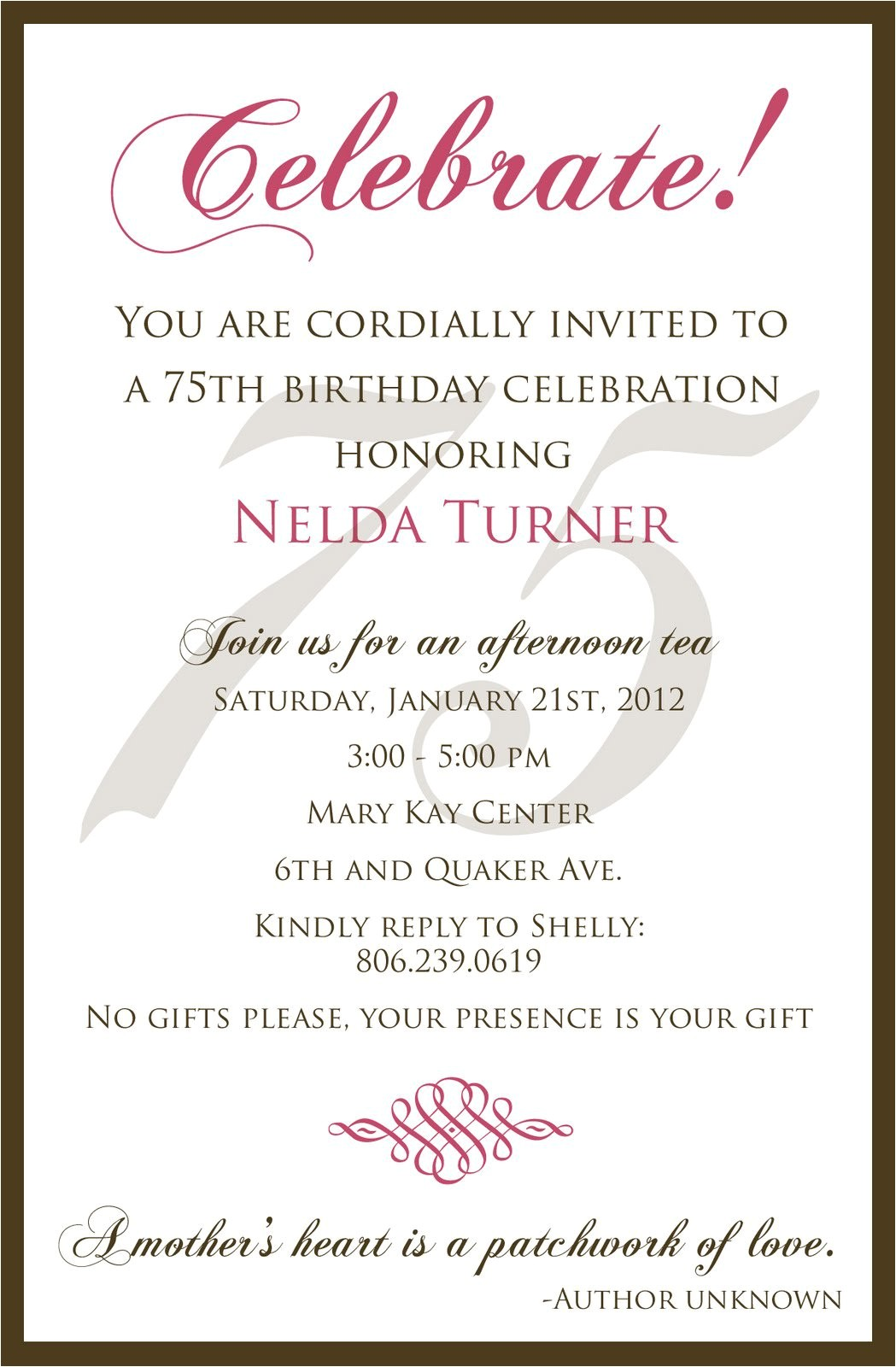 75 birthday invitation